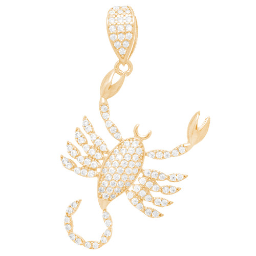 Yellow Gold Scorpion Pendant - CZ - 14 K - GP110