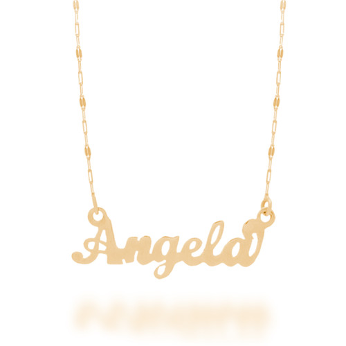 "Yellow Gold Name Plate with 18"" Necklace - NMP-A"