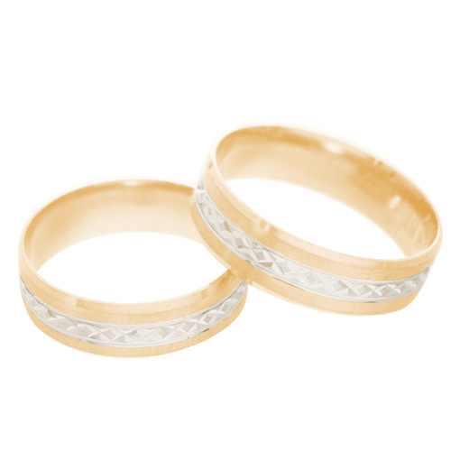 Yellow / White Gold Wedding Band Set - 14K - WBS124