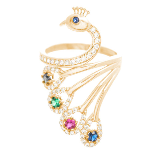 Yellow Gold Ring - Peacock - CZ - 14 K - RGO354