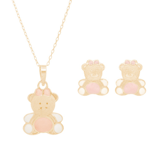 Yellow gold Teddy Bear Pendant, Chain and Stud Earrings Set - 14 K - JST405