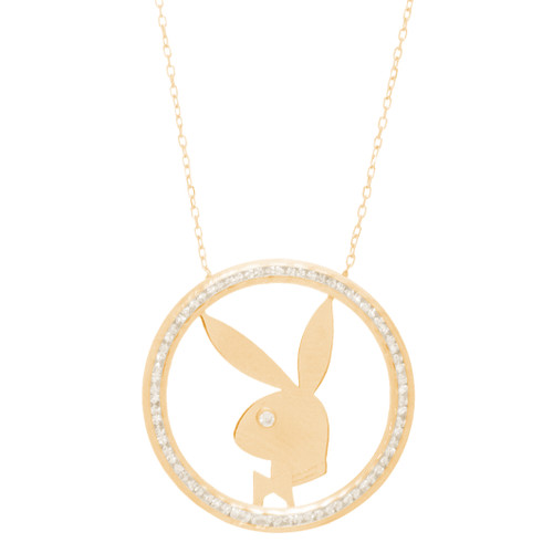 Yellow Gold Playboy Bunny Pendant with Chain Set - 14 K - JST406