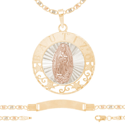 Baptism Jewelry Set - Chain, Pendant & Bracelet - 14K - BPS103