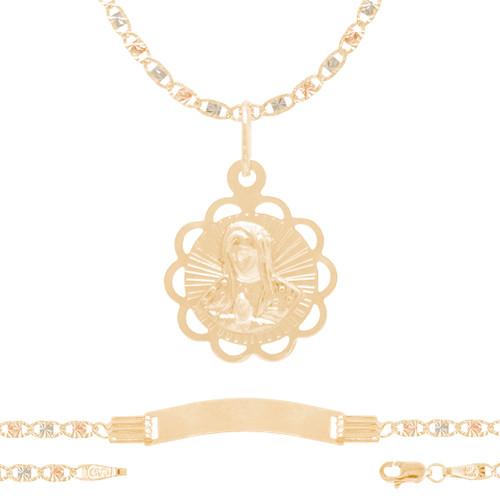 Baptism Jewelry Set - Chain, Pendant & ID Bracelet - 14K - BPS107