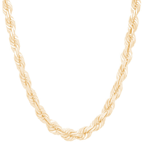 "7mm Solid Diamond Cut Rope Chain - 24"", 28"""