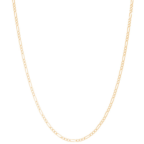 """1.5mm Solid Yellow Gold Figaro - 18"""""""