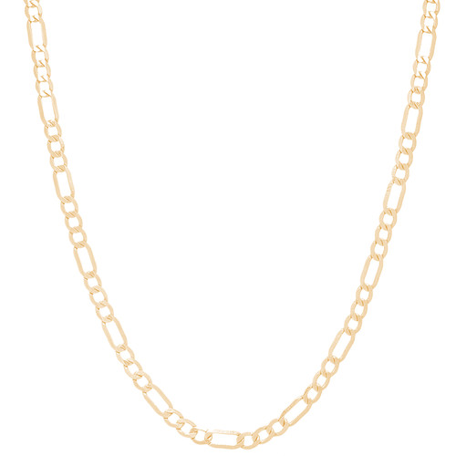 3.5mm Solid Yellow Gold Figaro Chain - 26""
