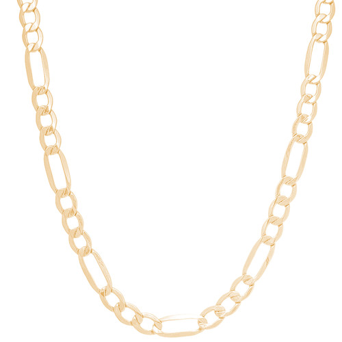"""5.5mm Hollow Yellow Gold Figaro Chain - 24"""""""
