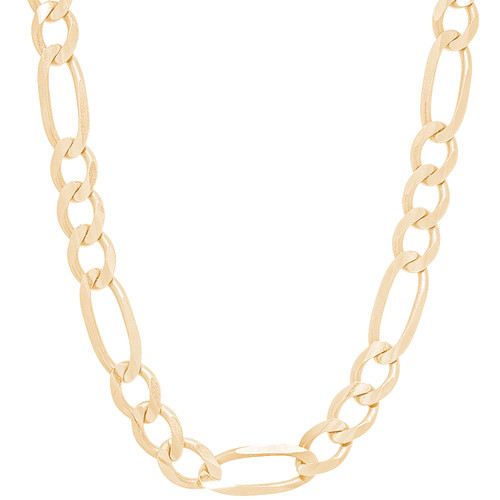 """8mm Hollow Yellow Gold Figaro Chain - 22"""", 26"""""""
