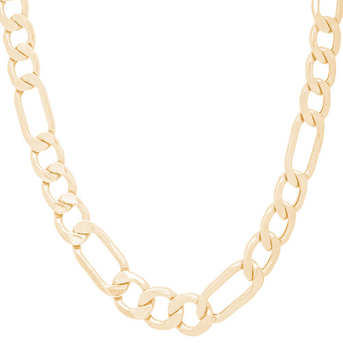 "9mm Hollow Yellow Gold Figaro Chain - 24"", 26"""