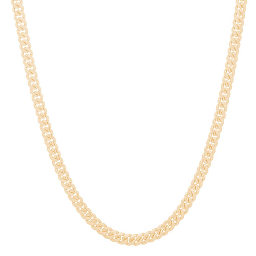 "5mm Solid Miami Cuban Link Chain with Box Lock Clasp - 22"", 24"""