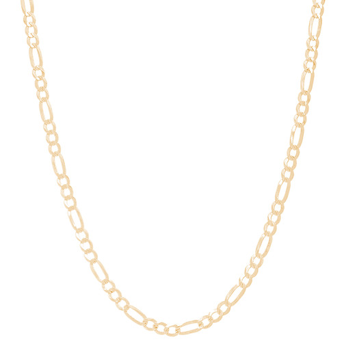 """3mm Solid Yellow Gold Figaro - 24"""""""
