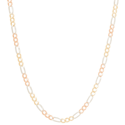 "3mm Hollow Tri-Color Figaro Chain - 22"", 24"""