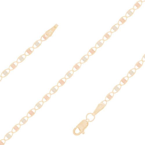 "2.4mm  Tri-color Valentino ""Star Burst"" Baby Bracelet - 5"""