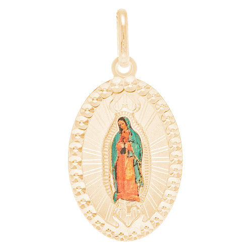 Yellow Gold Pendant - Painted Virgin Mary - 14 K - RPVG-178