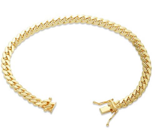 "5mm Solid Miami Cuban Link Bracelet Wit Box Lock - 8"""