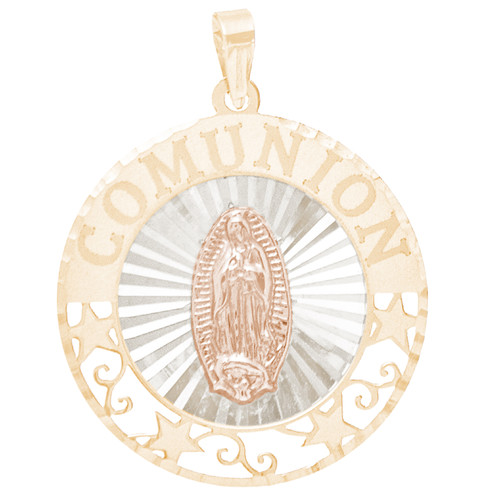 First Communion Gold Pendant - Virgin Mary - 14 K - CMP11V