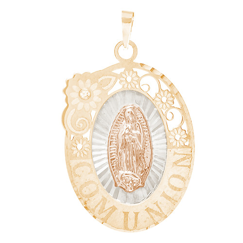 Communion Yellow Gold Pendant - Virgin Mary - 14 K - CMP-M-CZ