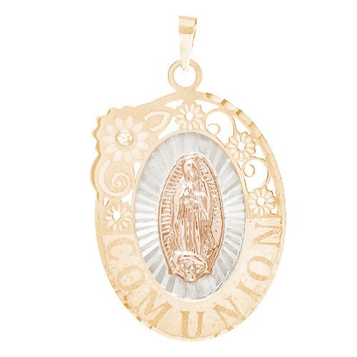 Communion Yellow Gold Pendant - Virgin Mary - 14 K - CMP-M-CZ