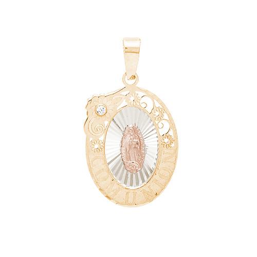 Communion Yellow Gold Pendant - Virgin Mary - 14 K - CMP-S-CZ