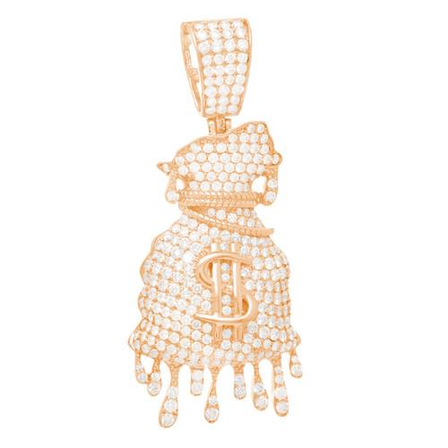 Rose Gold Money Bag Dripping Pendant with Diamonds - 14K - 3.65 ct - CLR102