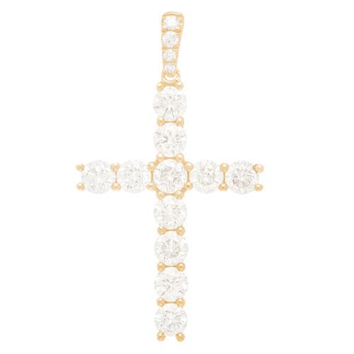 Yellow Gold Cross Pendant with Diamonds - 14K - 3.16 ct - CLR105
