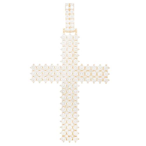 Yellow Gold Cross Pendant with Diamonds - 14K - VS 5.9 ct - CLR106