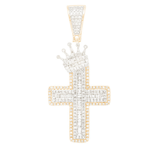 Bicolor Gold Cross with Crown Pendant with Diamonds - 14K - VS 1.0 ct - CLR107