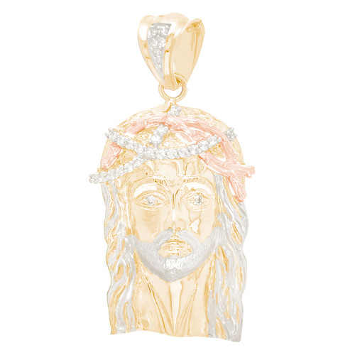 Yellow Gold Jesus Face Medal with White and Rose Gold Accents - CZ - 10 K - RP309