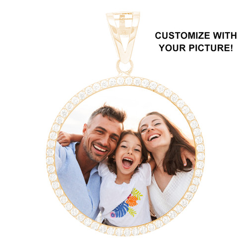 Special Memories Charm - Personalized Picture Pendant with CZ - 14k - PMC101