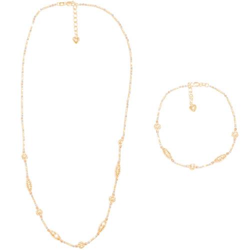 Tricolor Gold Necklace and Bracelet Set - Adjustable length - 16 in. - 14K - CLR114