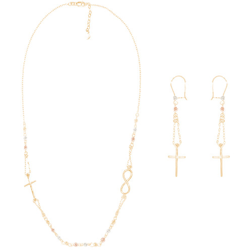 Tricolor Gold adjustable length Necklace and Earrings Set - Cross  - 16 in. - 14K - CLR115