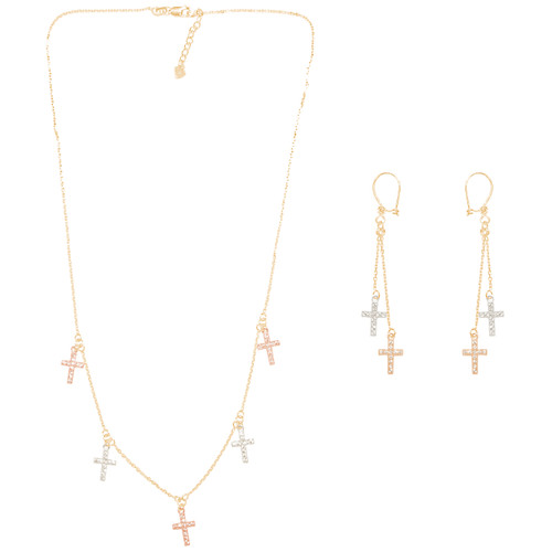 Tricolor Gold adjustable length Necklace and Earrings Set - Cross - CZ - 16 in. - 14K - CLR117