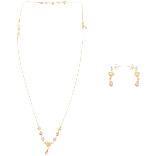 Tricolor Gold adjustable length Necklace and earrings Set - Hearts - 24 in. - 14K - CLR118