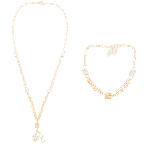 Yellow and White Gold Necklace and Bracelet Set - 14K - CLR119