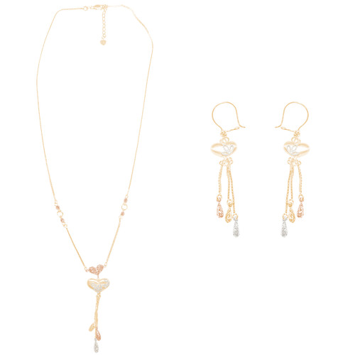 Tricolor Gold adjustable length Necklace and Earrings Set - Hearts - 16 in. - 14K - CLR120