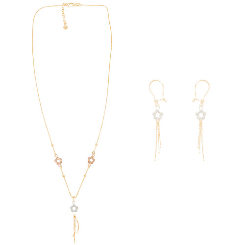 Tricolor Gold adjustable length Necklace and Earrings Set - Flowers - 16 in. - 14K - CLR121
