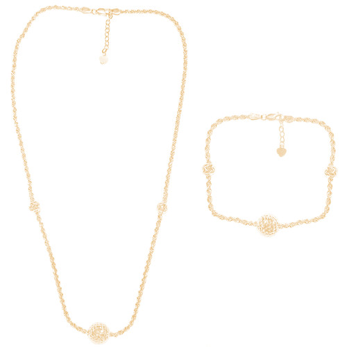 Yellow Gold Necklace and Bracelet Set - 14K - Rope Chain - CLR122