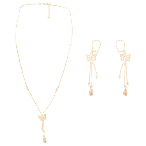 Tricolor Gold adjustable length Necklace and Earrings Set - Butterfly- 16 in. - 14K - CLR123