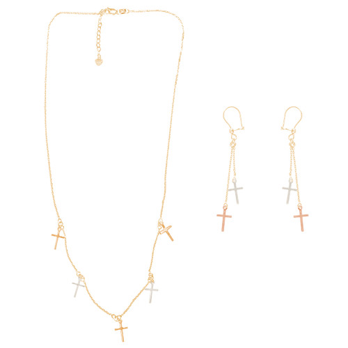 Tricolor Gold adjustable length Necklace and Earrings Set - Cross - 16 in. - 14K - CLR124