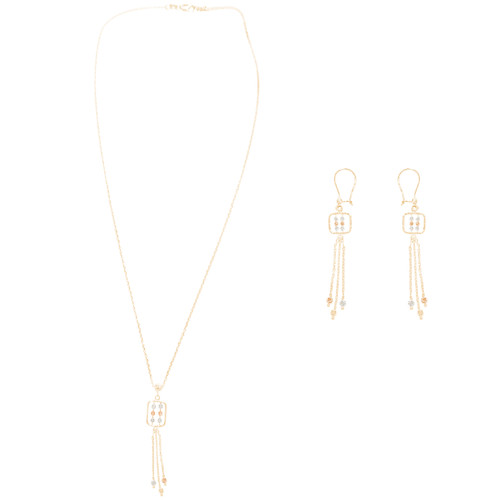 Tricolor Gold adjustable length Necklace and Earrings Set - 16 in. - 14K - CLR125