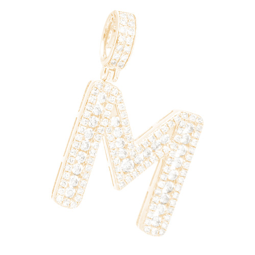 "14kt yellow and white gold diamond ""M"" initial  - DINT-03"