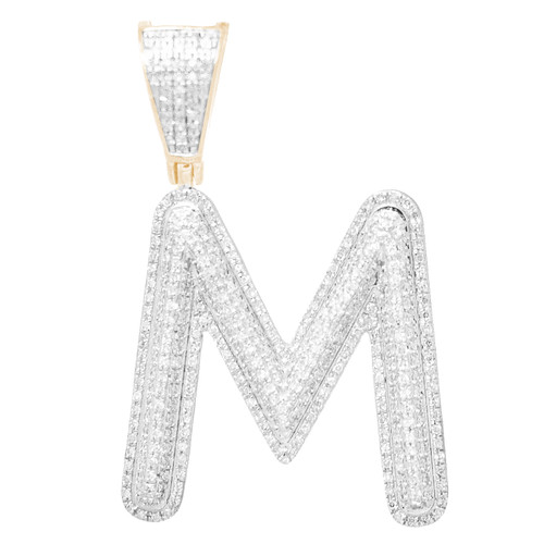 """14kt yellow and white gold diamond """"M"""" initial  - DINT-10"""