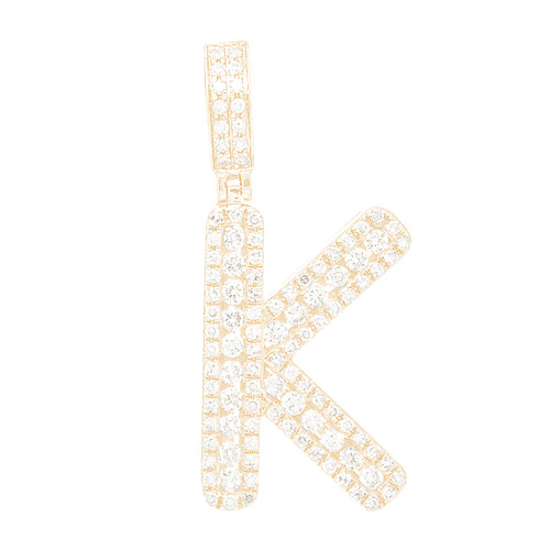 """14kt yellow and white gold diamond """"K"""" initial  - DINT-12"""