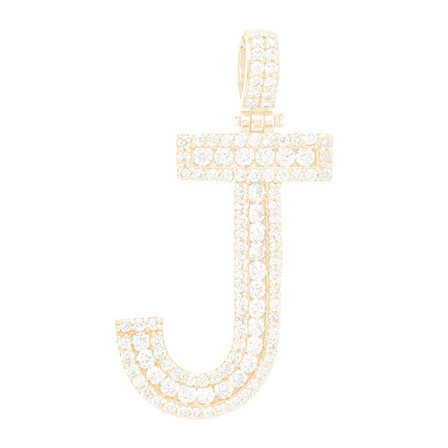 """14kt yellow and white gold diamond """"J"""" initial  - DINT-13"""