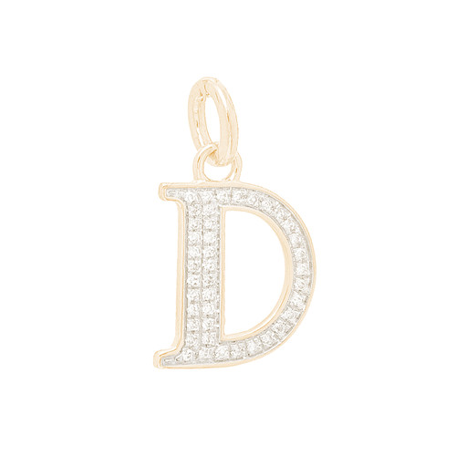 """14kt yellow and white gold diamond """"D"""" initial  - DINT-16"""