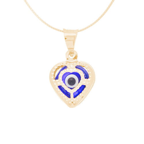 Yellow Gold Evil Eye Pendant  with box chain -  Dark Blue - 14 K - WEJ110
