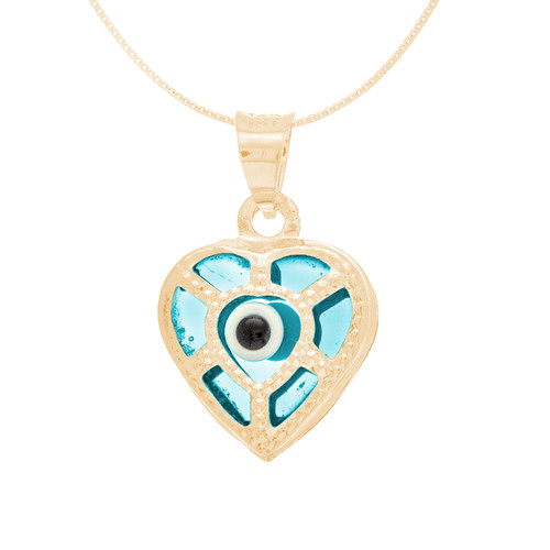 Yellow Gold Evil Eye Pendant  - Light Blue - 14 K - WEJ114