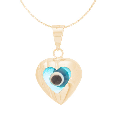 Yellow Gold Evil Eye Pendant  - Light Blue - 14 K - WEJ115