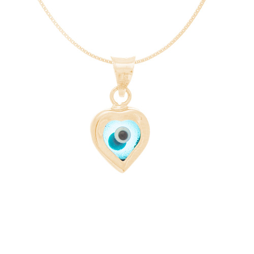 Yellow Gold Evil Eye Pendant  - Light Blue - 14 K - WEJ116